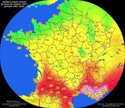 Nombre moyen annuel de jours avec chaleur en France