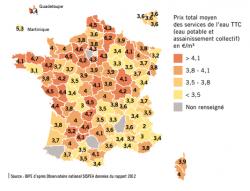 Prix moyen du service de l'eau en France