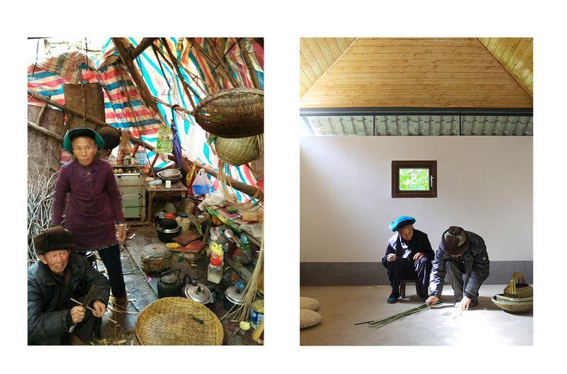 Gauche-habitat précaire après séisme & Droite-habitat rénové en terre - Post-Earthquake Reconstruction par Universite chinoise de Hong Kong - Yunnan, Chine