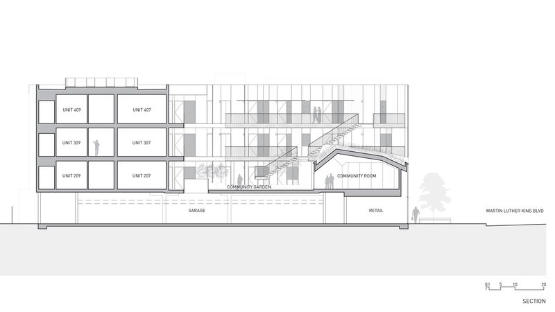 Plan 2D intérieur des logements - Housing Complex par Lorcan OHerlihy Architects - Los Angeles, USA