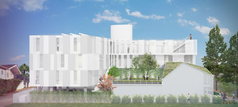 Plan 3D logements & espaces verts - Housing Complex par Lorcan OHerlihy Architects - Los Angeles, USA