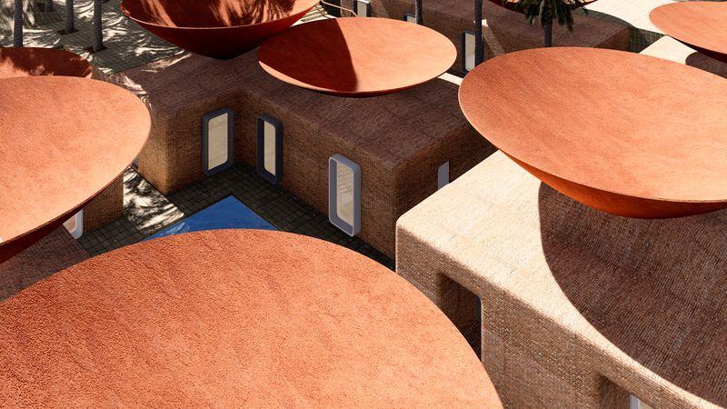 Vue panoramique toits concaves - Concave Roof - BMDesign Studios - Province de Kerman, Iran
