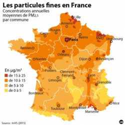 concentration annuelle des particules fines PM en France - 2015