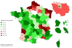 nombre de sites pollues par departement en France - 2012