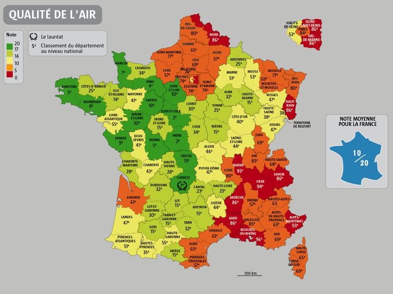 Cartes de France Qualite-de-lair-de-chaque-departement-en-France-2013