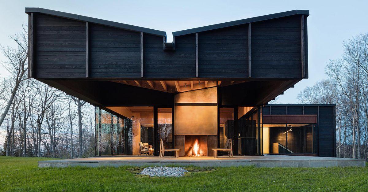 une superbe maison bois larchitecture et aux matriaux locaux au bord du lac michigan