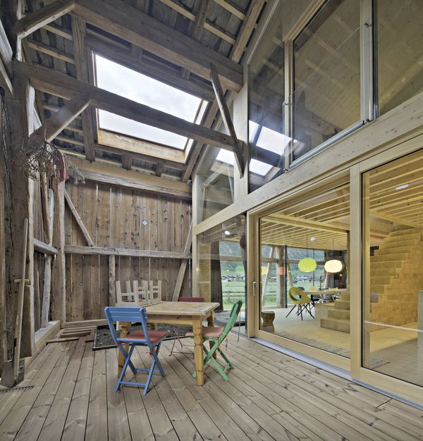 terrasse intérieure - Maison Moser par architectes Madritsch et Pfurtscheller - Autriche