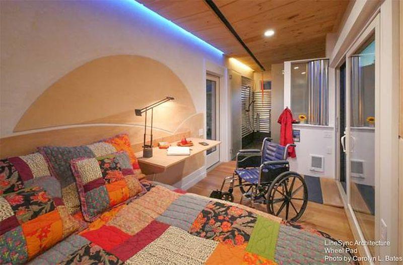 Chambre et petit bureau encastré - Weel-Pad par LineSync Architecture - Vermont, USA