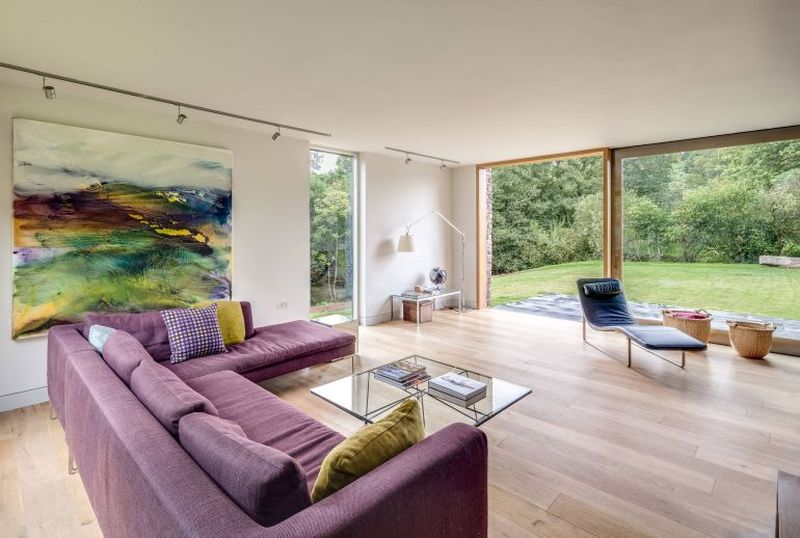 Salon & grande baie vitrée - The-Nook par Hall+Bednarczyk - Monmouthshire - Nouvelle-Zelande