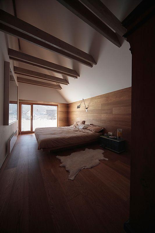 Chambre et grande baie vitrée - Alpine-hut par OFIS-arhitekti - Stara Fuzina, Slovenie