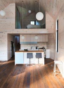 ilot central de cuisine-Les soeurs par Anik Péloquin architecte - La Malbaie - Canada