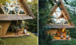 Terrasse en bambou à gauche jour et à droite nuit - Hideout par Jarmil Lhotak - Alena Fibichova - Bali, Indonesie © Fibichova