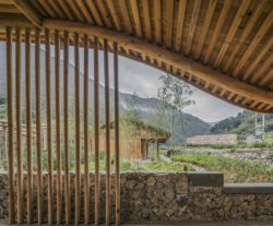 Plafond courbe avec bois local - Springstream-House par WEI architects - Fuding, Chine © Weiqi Jin