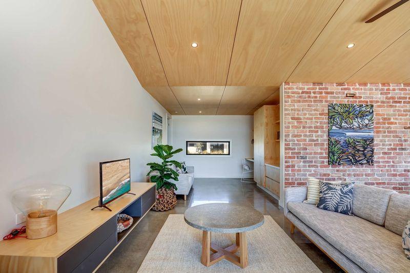 Salon et écran TV - Core 9 par Beaumont Concepts - Cape Paterson, Australie © Warren Reed