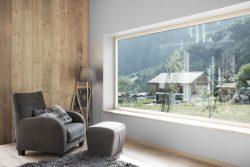 Espace repos et grande baie vitrée - CNR-House par Alp-Architecture - Vollèges, Suisse © Christophe Voisin