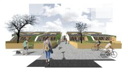 maquette 3D rue projet - The-Zero-Emission-Neighborhood par Architecture-Humans - Prestina, Kosovo