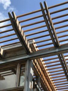 Ossature charpente bois - Glass-Cabin par atelierRISTING - Fairbank, USA © Steven