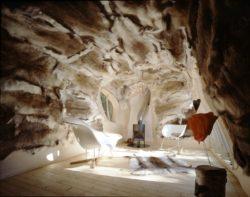 Intérieur en peau de renne - salon et cheminée - Dragspelhuset - Glaskogen, Suede