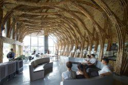 Salle permanence college - Première Biennale internationale d'architecture en bambou - Zhejiang, Chine © Juien Lanoo