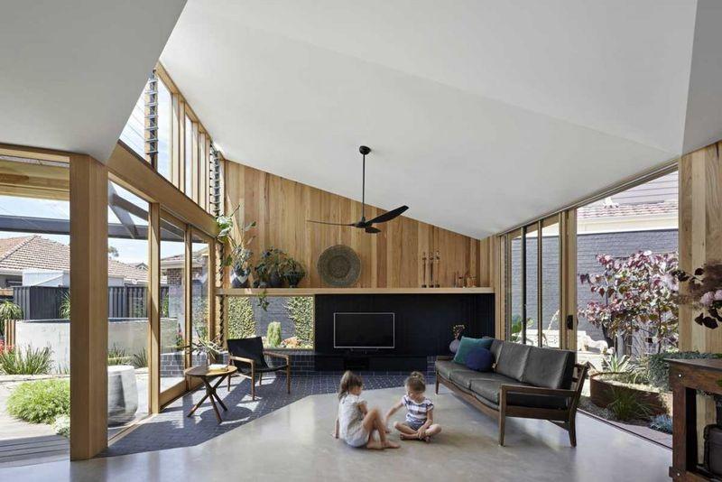 Salon et cheminée - Annexe par Bent - Australie © notapaperhouse