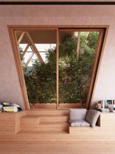 Ouverture vitrée et espace bibliothèque - La Ferme par Precht Designs - © Precht