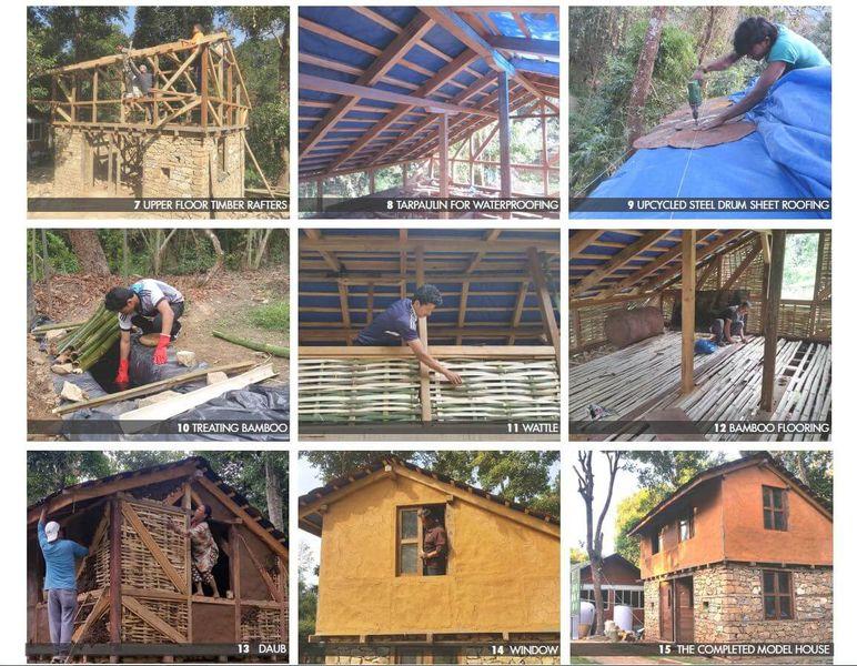 Différentes étapes de construction élevation mur - Building-back-cheaper par SMA - Godavari, Nepal