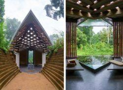 Façade entrée et petite piscine jardin intérieur - Chirath par Wallmakers - Kerala, Inde © Anand Jaju