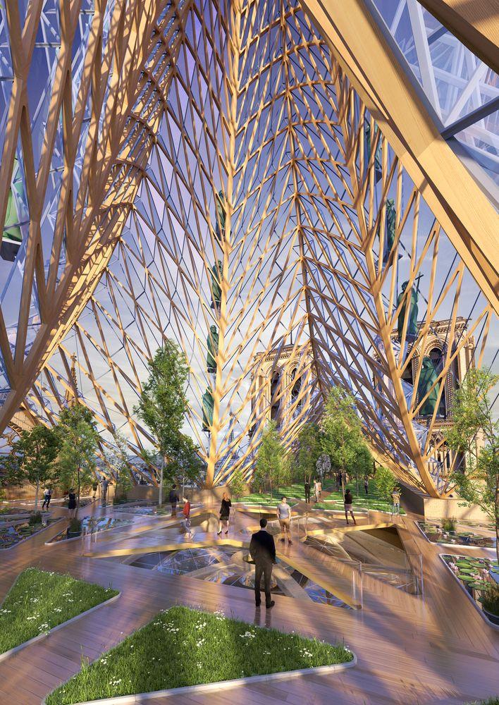 Intérieur avec jardin - Rooftop-Farm-Notre-Dame par Vincent Callebaut Architectures - Paris, France