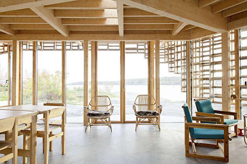 Séjour et salon - House-Island par AtelierOlso - Skatoy, Norvège © Ivar Kvaal
