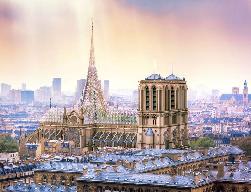 Toiture avec flèche - Rooftop-Farm-Notre-Dame par Vincent Callebaut Architectures - Paris, France