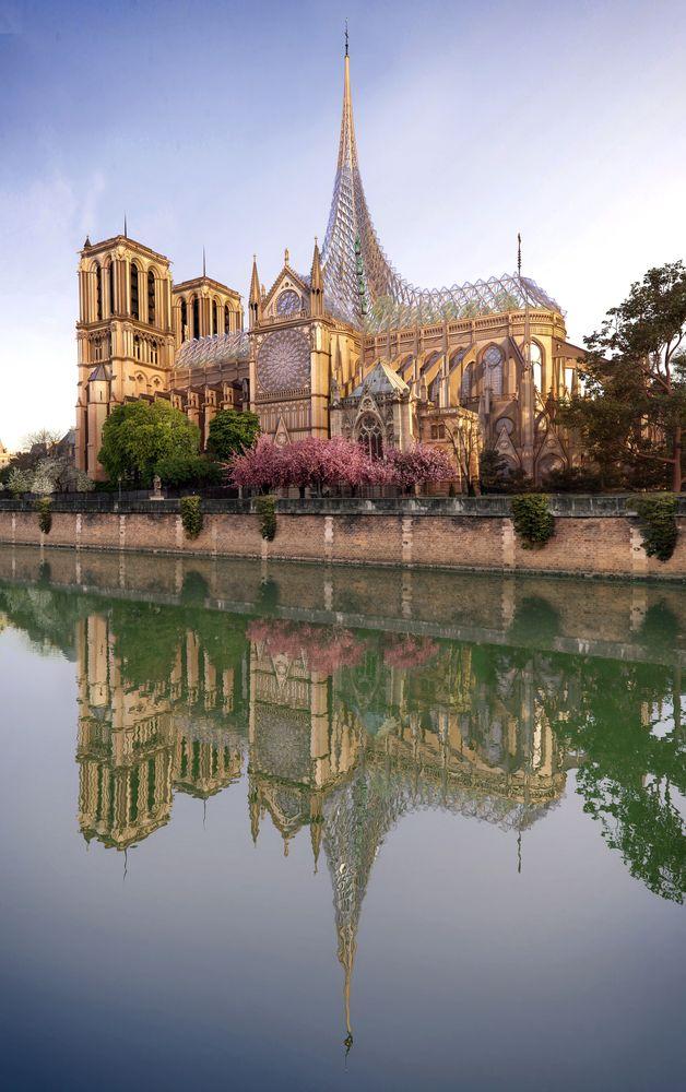 Vue principale façade - Rooftop-Farm-Notre-Dame par Vincent Callebaut Architectures - Paris, France