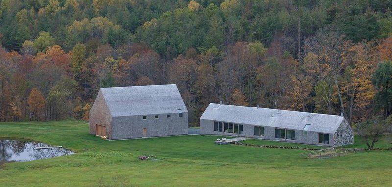 Vue panoramique grange et ferme - Woodstock Vermont Farm par Rick-Joy - Vermont, USA © Jean-Luc Laloux