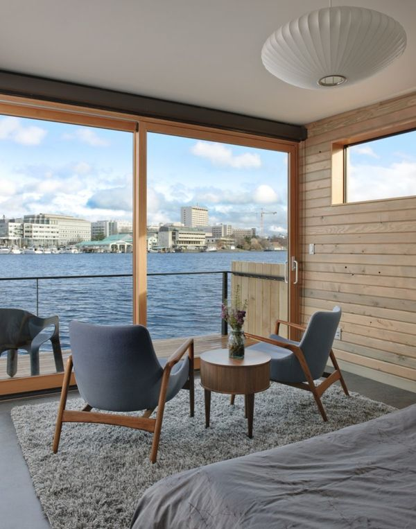Chambre et vue baie Seattle - Floating-home par Ninebark Design - Seattle, USA © Aaron Leitz