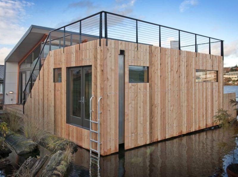 Façade bois - Floating-home par Ninebark Design - Seattle, USA © Aaron Leitz