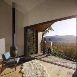 Façade terrasse et vue panoramique nature - Cabin-Rock par I-Kanda-Architects - New Hampshire- USA © Matt Delphenich