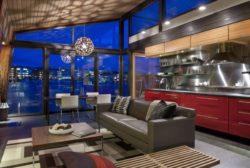 Pièce de vie illuminée - Floating-home par Ninebark Design - Seattle, USA © Aaron Leitz