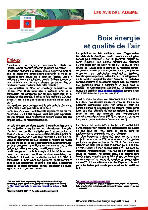 Avis Ademe chauffage bois et qualite air – octobre2013