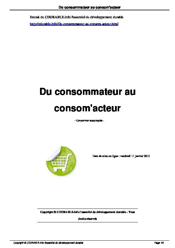 Du consommateur au consom-acteur_