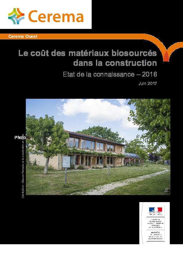 Etat des coûts des matériaux bio-sourcés – Cerema