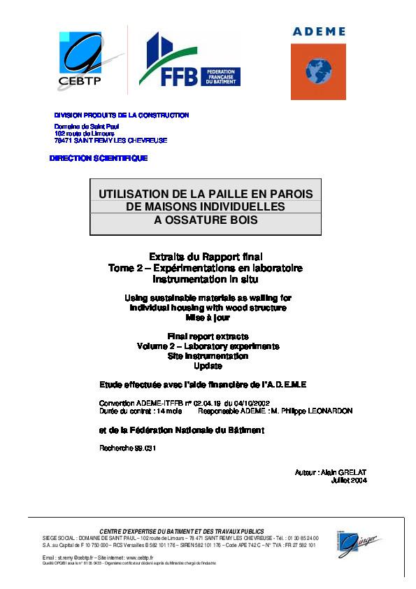 Utilisation de la paille en parois de maisons individuelles à ossature bois (Ademe)