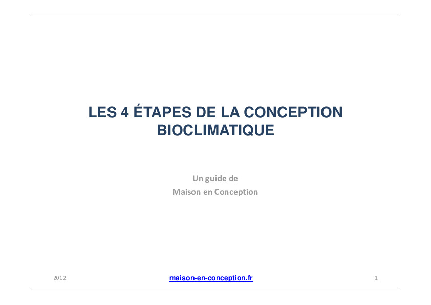 Les 4 etapes de la conception bioclimatique