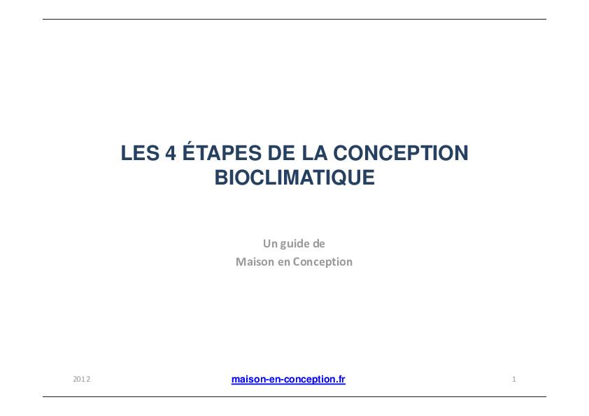 Les 4 etapes de la conception bioclimatique